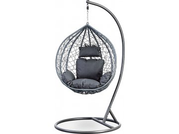 Zahradní závěsné křeslo malé, výplet šedý umělý ratan, potah šedá látka, kovová konstrukce, šedý kladívkový lak