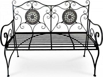 Zahradní lavice, keramická mozaika, kovová konstrukce, černý matný lak (typově ke stolu US1006 a židli US1007)