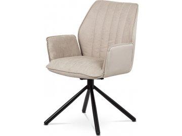 Jídelní a konferenční židle, cappuccino ekokůže / látka, kovová podnož, černý matný lak, otočná o 180° se zpětným mech.