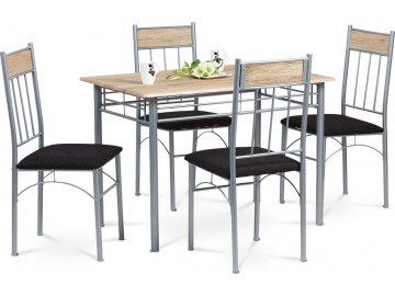 Jídelní set 1+4, MDF 3D dekor dub San Remo, černé látkové sedáky, kovová konstrukce, stříbrný práškový nástřik