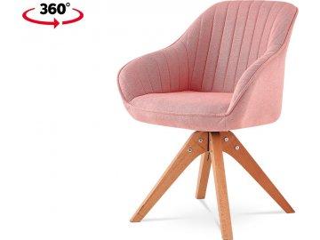 Jídelní a konferenční židle, potah starorůžová látka, nohy masivní buk v tmavším přírodním odstínu, otočná o 360°