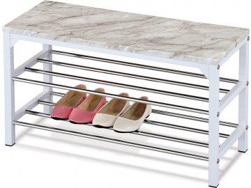Botník / taburet, 2 kovové chromované police, deska MDF v dekoru šedobílý mramor, kovová konstrukce, bílý matný lak