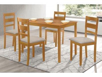 Jídelní set 1+4, rozměr stolu 120x75x75 cm, MDF, pravá dýha, moření dub landhaus, šedé látkové sedáky