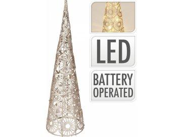 Kovový kužel champagne-zlatý 40 cm, 10 LED