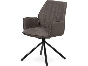 Jídelní a konferenční židle, lanýžová ekokůže / látka, kovová podnož, černý matn