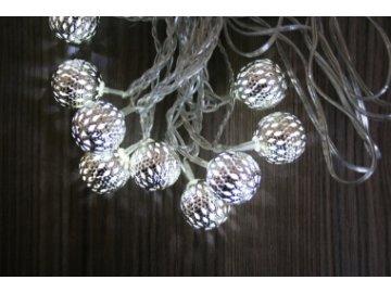 Světelný řetěz LED - koule - kovový efekt | 3 m