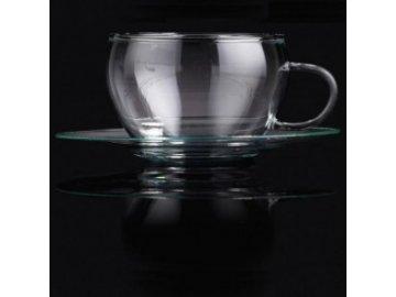 Skleněný hrnek s talířkem | Lotus | La Cafetiére | Set 2ks