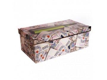 Úložná krabice s víkem | bankovky | 22x39x14cm