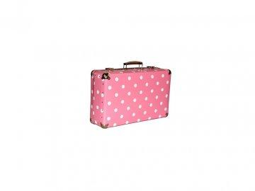 Kufr | nýtovaný | s puntíky | růžový