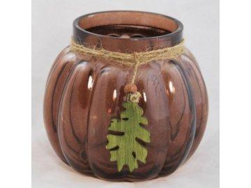 Svícen skleněný | s dřevěným listem | 15x14cm