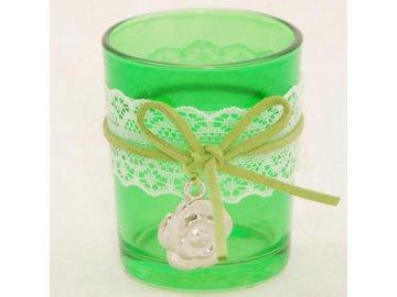 Skleněný svícen | na votivní svíčku | s kytičkou a krajkou | 6x7cm