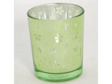 Skleněný svícen | na votivní svíčku | s kytičkami | 6x7cm