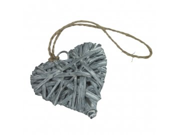 Srdce ratan malé šedé 6cm