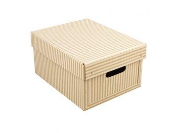 Úložná krabice s víkem | přírodní s motivem | 25x33x17cm