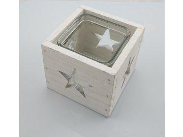 Svícen dřevěný bílý hvězda 9,5cm