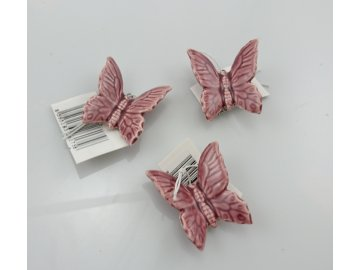 Keramický motýlek závěs lfialový 4cm