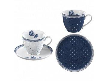 Hrnky na espresso VINTAGE INDIGO | porcelán | 80ml | set 4ks