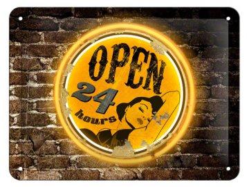 Plechová cedule Open 24 hrs