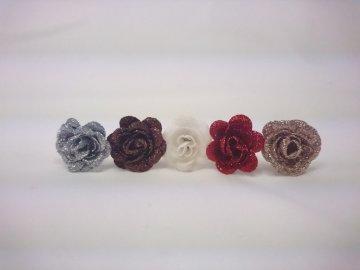 Květ růže glitr 3,5cm (Barva tmavě červená)