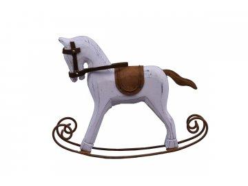 Houpací kůň bílý dřevo (Rozměry 30x26x6cm)