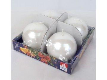 Svíčky adventní s perletí set 4ks koule 60mm (Barva světle fialová)