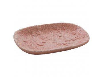 Mýdlenka FLOWERS | porcelán | růžová | 15x10x2cm