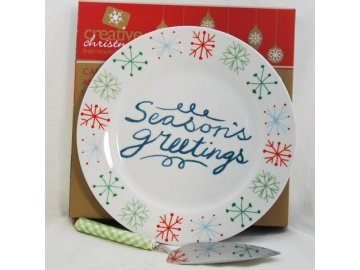 Dortový talíř s dortovou lžicí CHRISTMAS | porcelán | 27x27cm