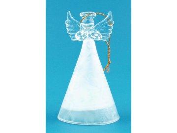 Anděl skleněný s bílou sukní a LED 10 cm