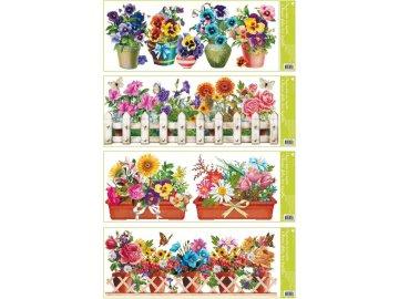 Okenní fólie pruh květiny v květináčích 60x22,5cm