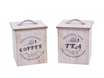 Box dřevěný na čaj a kávu