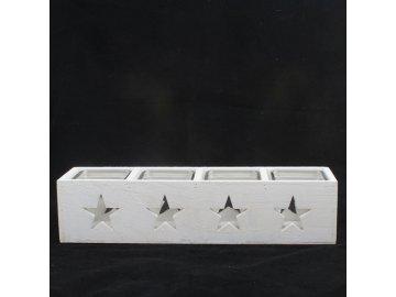 Svícen dřevěný bílý | hvězda
