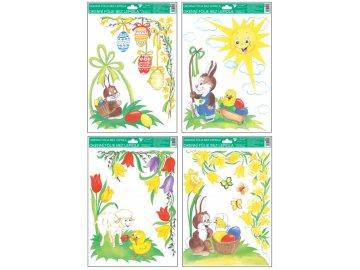 Okenní fólie rohová tradiční velikonoční motivy set 4 ks