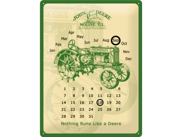 Plechová cedule John Deere Moline kalendář 30x40cm