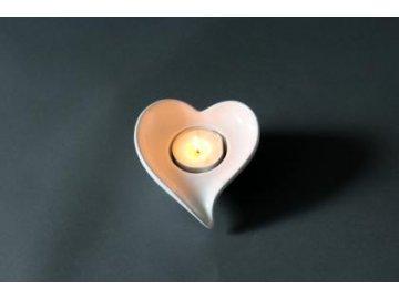 Svícen srdce bílý dolomit (Velikost větší)