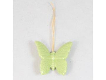 Keramický motýlek závěs zelený 4cm