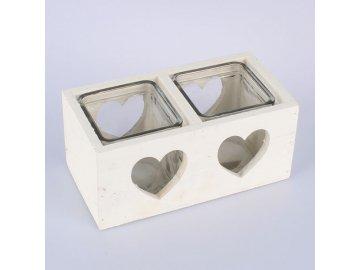 Svícen dřevěný bílý srdce 18cm