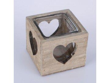 Svícen dřevěný srdce 9cm