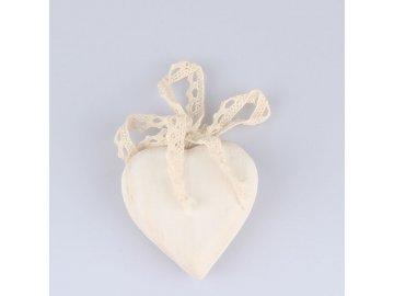 Dřevěné srdce s mašlí 8 x 8cm