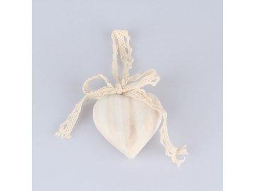 Dřevěné srdce s mašlí 6 x 6cm