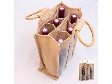 Jutová taška pro 6 lahví vína