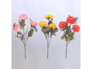 chryzantema 3kvety 55cm mix zluta oranz