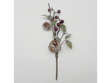 jerabina vetvicka zasnezena umela cervena