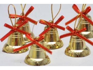 zvonecek zlaty na zaveseni 3 cm sada 12 ks