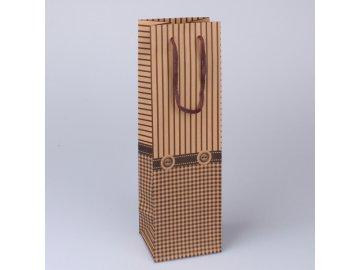 DÁRKOVÁ TAŠKA NA VÍNO HNĚDOBÉŽOVÁ |ROZMĚRY 36 × 11 × 10 cm