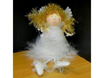 Anděl textil bílý