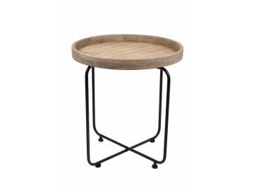 Odkládací stolek kov a dřevo