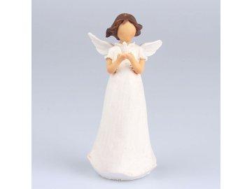 Anděl s holubicí stojící 14cm