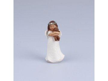 Anděl s medvídkem stojící 7,5cm
