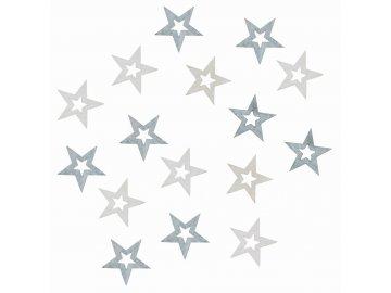 Dřevěné hvězdy šedé 2cm Set 24ks
