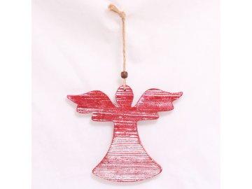 Anděl pro závěs červený 12x10cm
